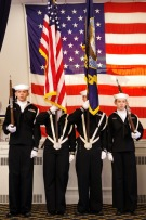 Cadets from the U.S. Naval Sea Cadet Corps color guard team stand to attention during the opening ceremony of the 2019 Veterans Chow Down. (Photo by Major Peter Milano, New York Wing)